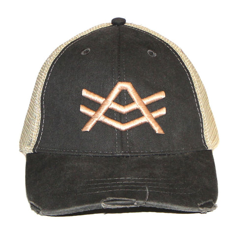 Black and Tan Distressed Trucker Snapback
