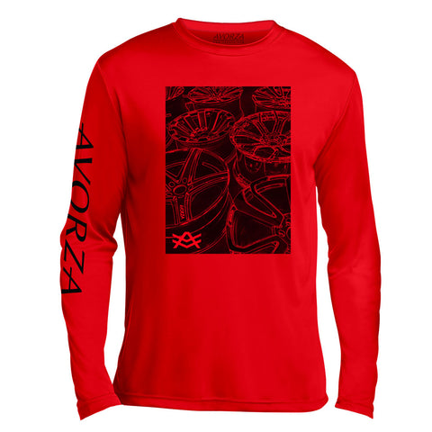 UTL3 Red Long Sleeve Black Avorza Wheels