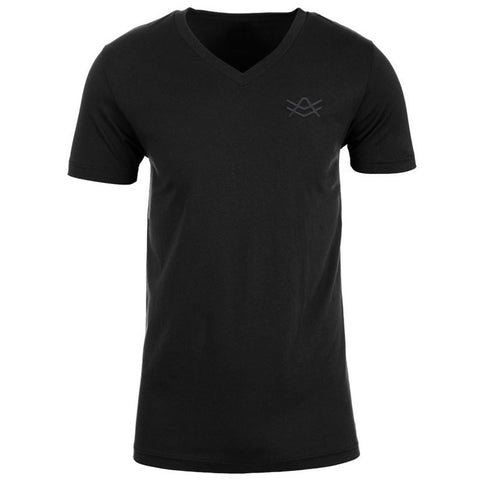 MTV1 Black Fitted V-Neck Black Stitched Logo