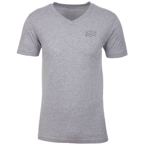 MTV4 Heather Grey Fitted V-Neck Grey Stitched Logo