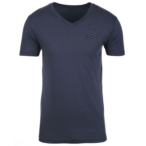 MTV7 Navy Fitted V-Neck Navy Stitched Logo