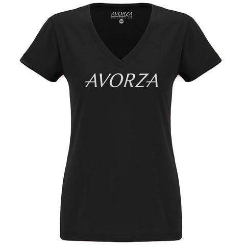 WTV1 Black Deep V-Neck T-Shirt White Avorza