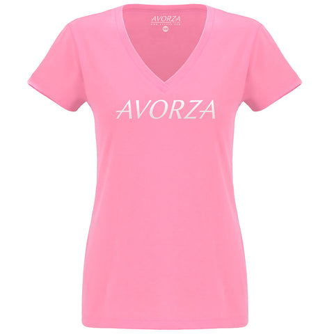 WTV2 Pink Deep V-Neck T-Shirt White Avorza