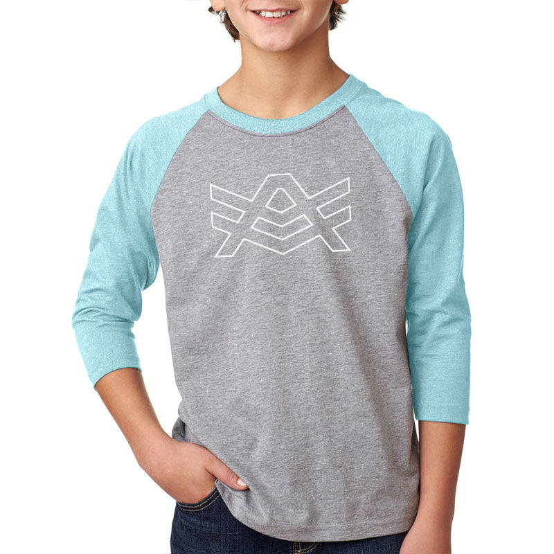 YTR1 Grey/Ice Blue Raglan White Outline Logo