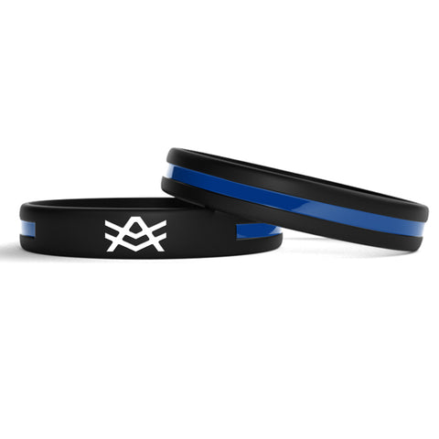 WB2 Silicone Wristband with a Thin Blue Stripe Down the Middle