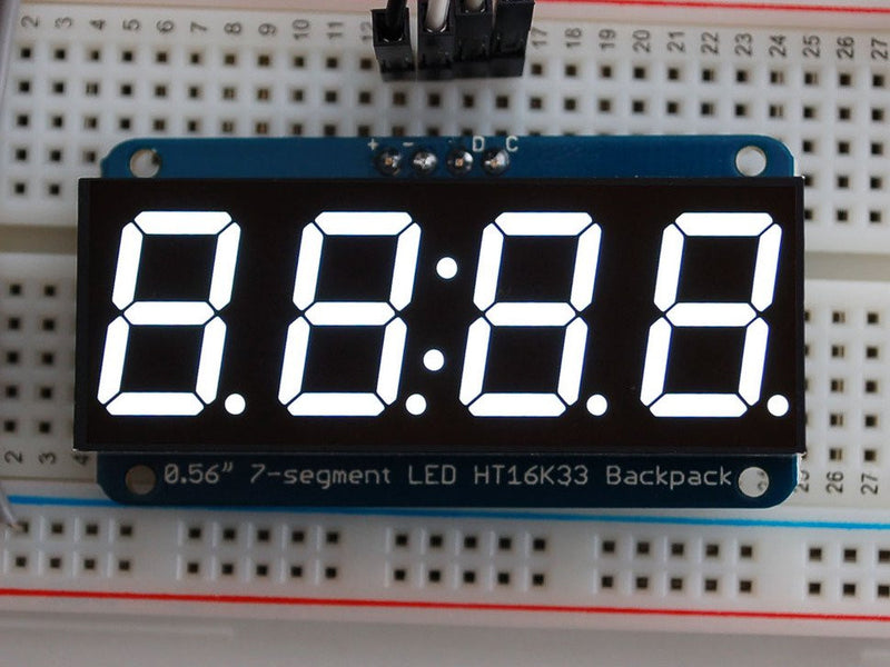"Adafruit 0.56"" 4-Digit 7-Segment Display w/I2C Backpack - Multicolor"