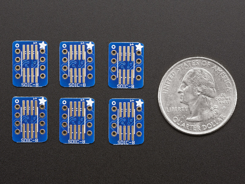 Adafruit SMT Breakout PCB for SOIC-8, MSOP-8 or TSSOP-8 - 6 Pack