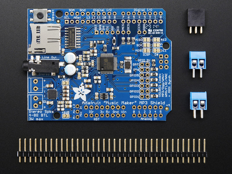"Adafruit ""Music Maker"" MP3 Shield for Arduino w/3W Stereo Amp"