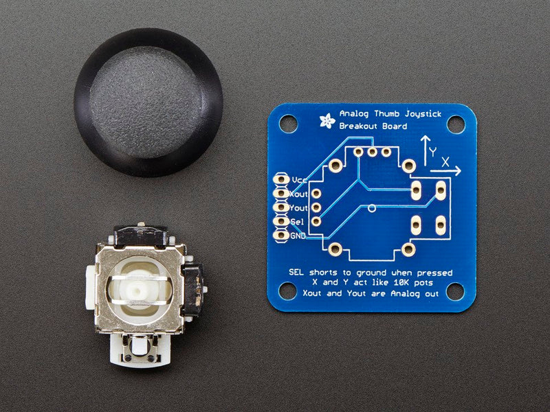 Adafruit Analog 2-axis Thumb Joystick with Select Button + Breakout Board