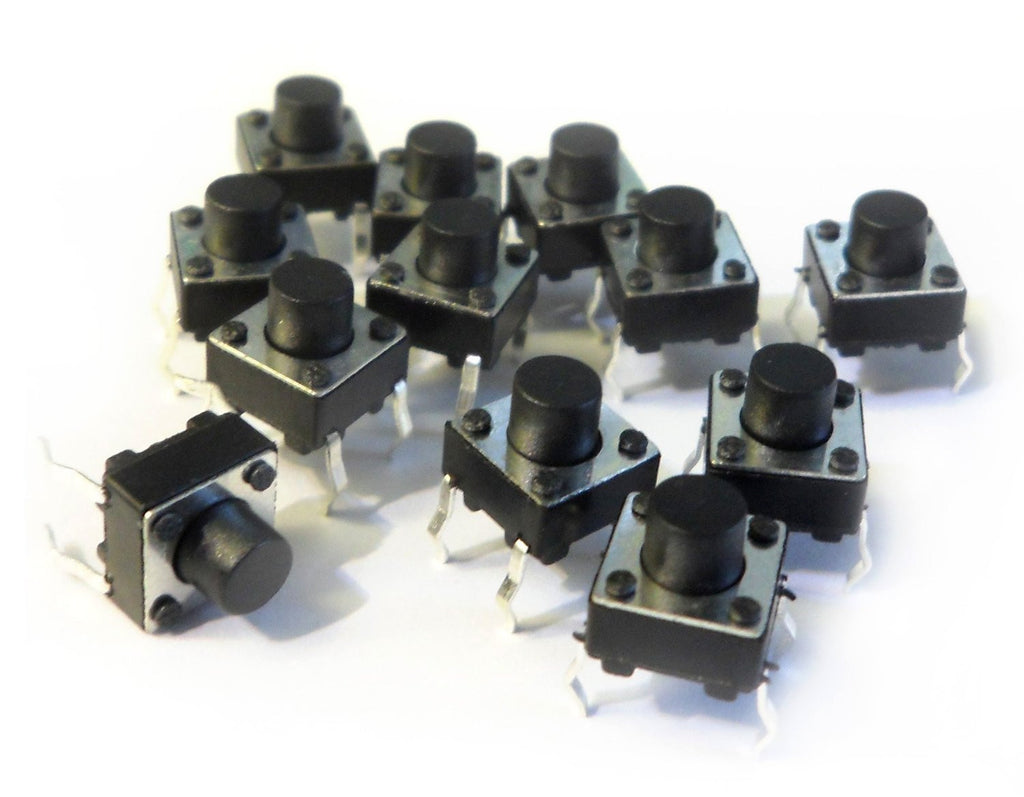 6x6x6mm Mini Pushbutton Switchs (Pack of 12)