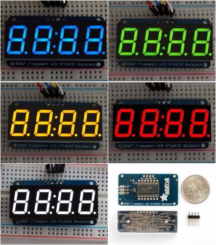 "Adafruit 0.56"" 4-digit 7-segment Display W/Backpack"
