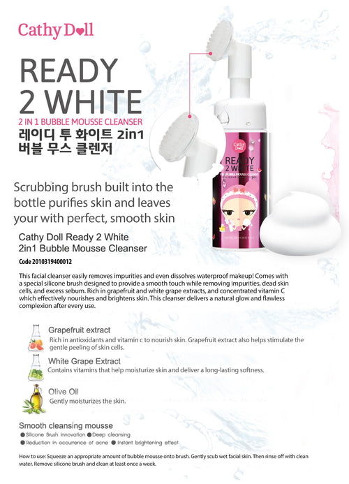 Ready 2 White 2-in-1 Bubble Mousse Cleanser 120ml