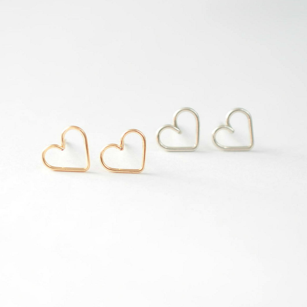 Heart Stud Earrings - Quad Espresso Jewelry
