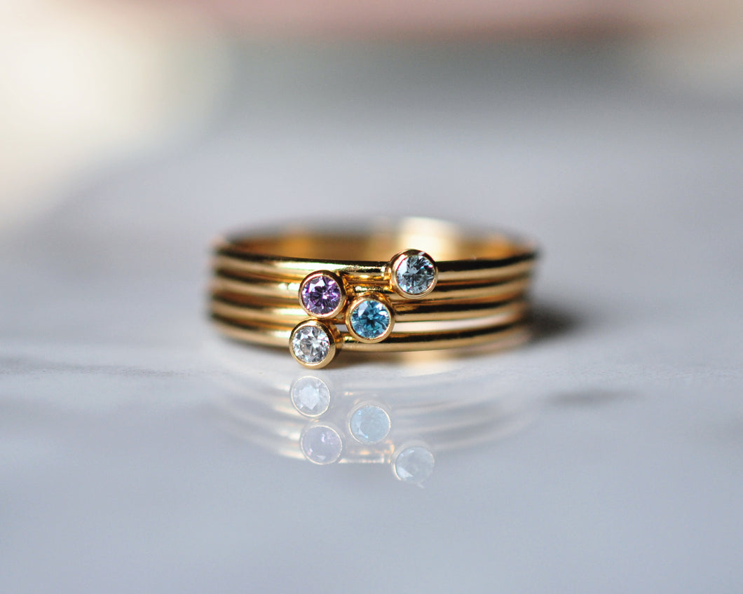 Four Birthstones Ring Stack - Quad Espresso Jewelry