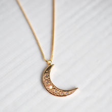 Embellished Moon Charm Necklace