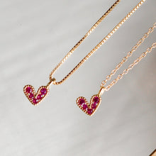 Mini Beaded Pink Heart Necklace