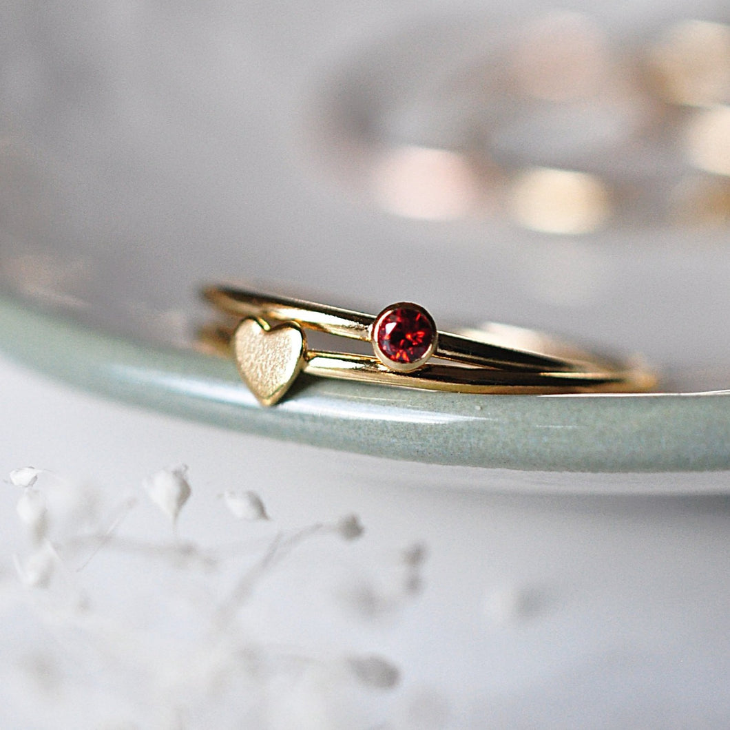 Heart & Birthstone Stack - Quad Espresso Jewelry