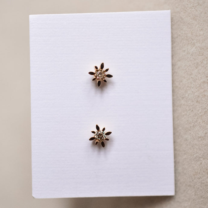 Compass Star Diamond Studs - Solid Gold