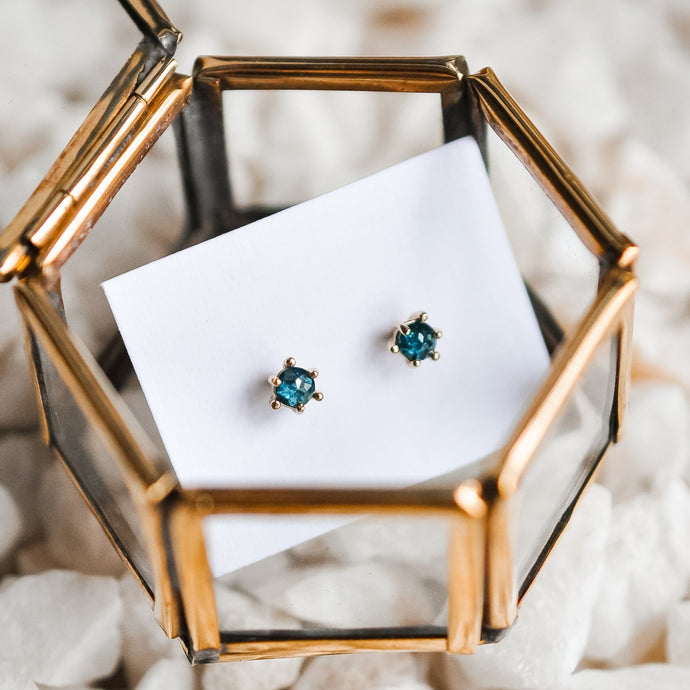 Blue Rough Cut Diamond Studs - Solid Gold