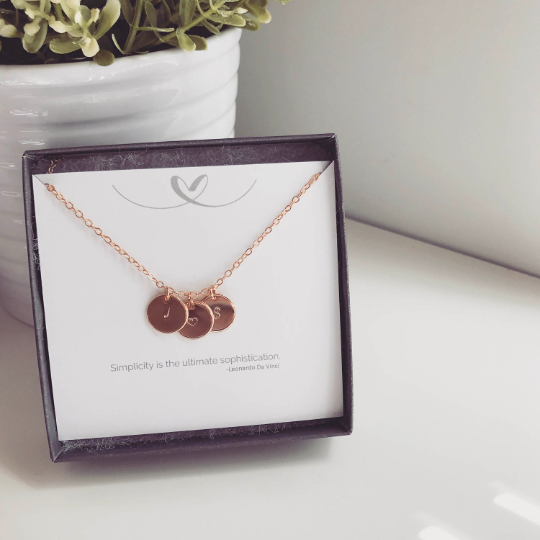 Initial Disc Necklace - Quad Espresso Jewelry