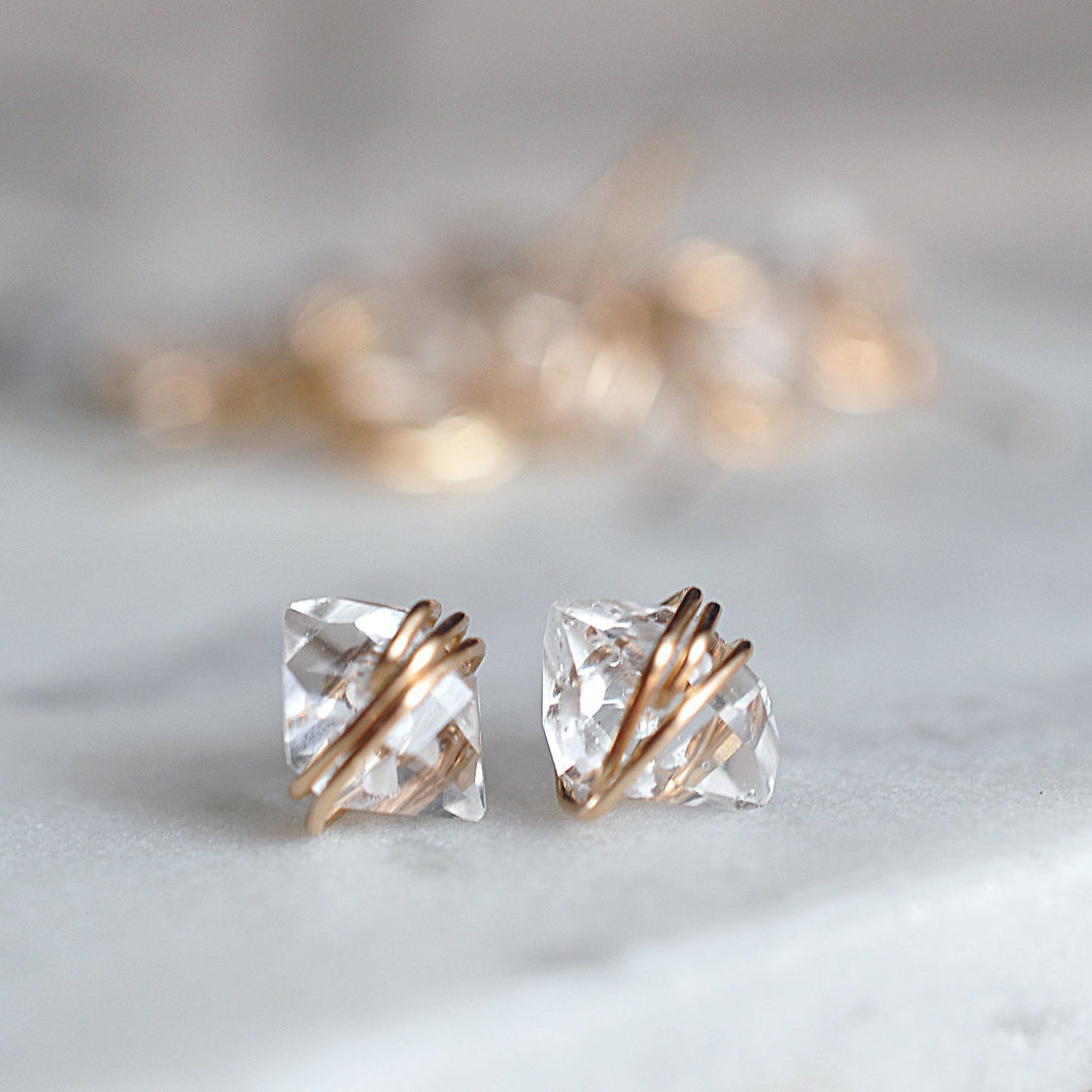 Herkimer Diamond Studs - Quad Espresso Jewelry