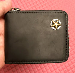 Zipper Wallet with Star Unisex Leather