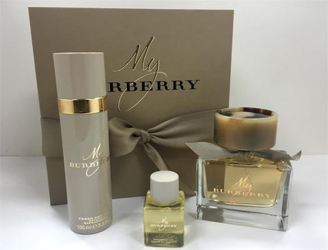 MY BURBERRY By Burberry EDP 3.0oz/Deo 3.3oz/S. Oil 1.0oz For Women - Aura Fragrances