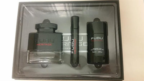 FUBU HERITAGE For Men By FUBU EDT 3.4oz/ .68oz/ Deo 2.5 OZ. - Aura Fragrances