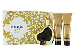 Bebe Gold Women Gift Set 3.4oz EDP & 3.4 Body Lotion & 3.4 Shower Gel