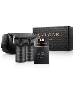 Bvlgari Man in Black 4-piece Gift Set 3.4oz EDP/2.5oz Aftershave/2.5oz Shampoo/Pouch
