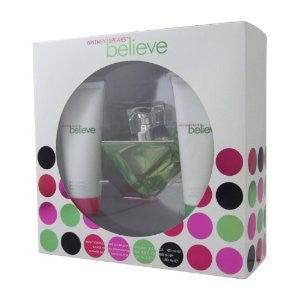 Britney Spears Believe Gift Set 3.3 OZ/3.3 BODY SOUFFLE/3.3 OZ SHOWER GEL - Aura Fragrances