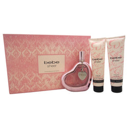 Bebe Sheer Women Gift Set 3.4oz EDP & 3.4 Body Lotion & 3.4 Shower Gel