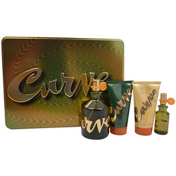 Curve Gift Set for Men 4.2oz EDT/Shampool/After Shave/Mini