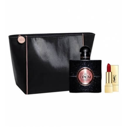 Black Opium for Women by YSL Gift Set 3oz EDP/Lipstick/Bag
