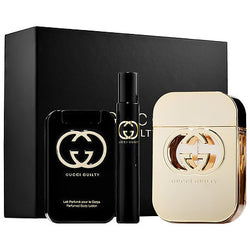 GUCCI GUILTY for Women Gift Set 2.5oz EDT/2.5oz BL/.25 EDT Mini - Aura Fragrances
