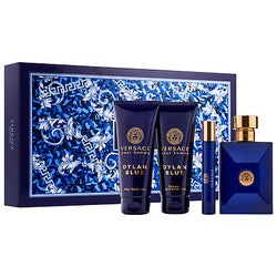 Versace Dylan Blue for Men Gift Set 3.4oz EDT/.3oz EDT/3.4oz AS/3.4oz SG - Aura Fragrances