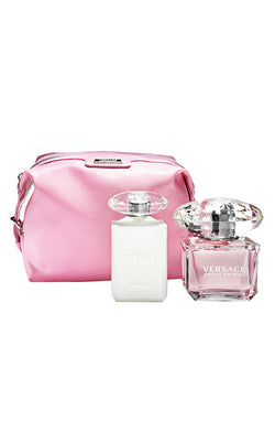 BRIGHT CRYSTAL For Women by Versace EDT 3.0 OZ. / PINK COSMETICA POUCH - Aura Fragrances