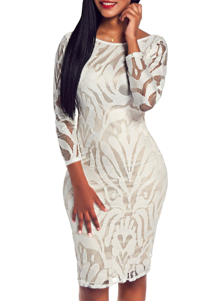 Long Sleeve White Backless Pencil Dress for $0.37 at THOKO PLACE
