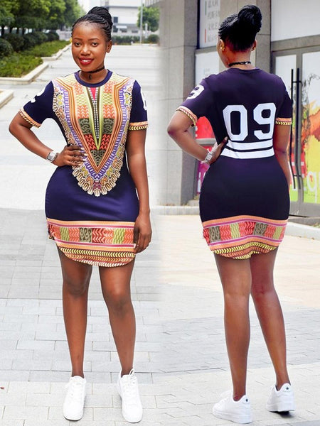 Dashiki Side Split Zipped Digital T-shirt for $0.39 at THOKO PLACE