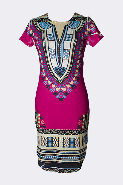 Ethnic Style Round Neck Short Sleeves Printed Mini Dress for $0.30 at THOKO PLACE