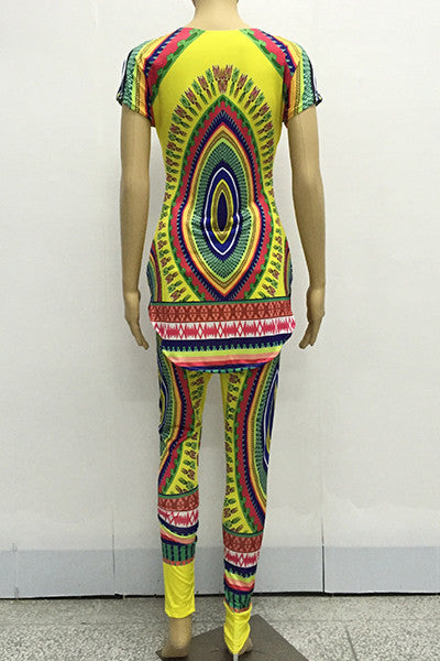 Ethnic Style Round Neck Short Sleeves Totem Printed Two Piece Pants Set for $0.30 at THOKO PLACE