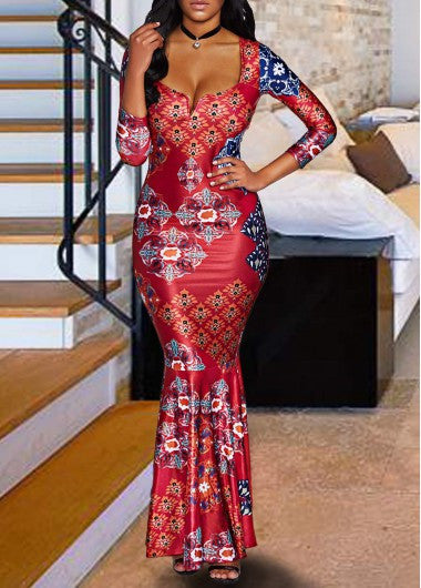 Three Quarter Sleeve High Waist Printed Dress for $0.69 at THOKO PLACE