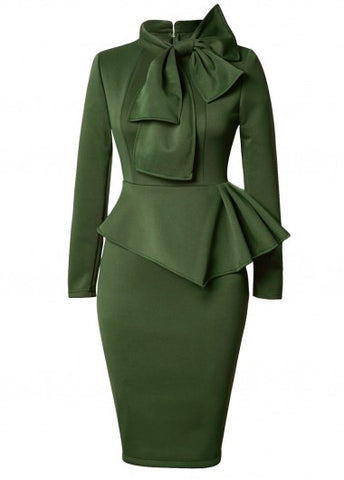 Army Green Bowknot Emblem Dress for $0.69 at THOKO PLACE