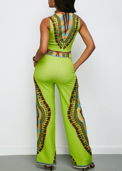 Round Neck Sleeveless Top and Dashiki Print Pants for $0.55 at THOKO PLACE