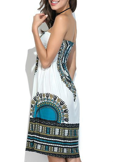 Dashiki Print Strapless Elastic Bust Tunic Dress for $0.39 at THOKO PLACE