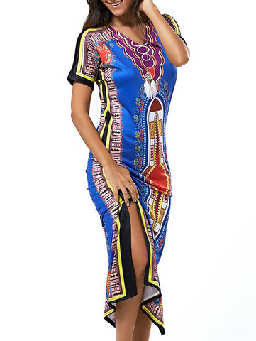 Ethic Tribal Print Colorful Slit Maxi Dress for $0.25 at THOKO PLACE