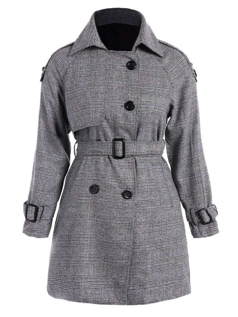 Tie-Waist Double-Breasted Plus Size Coat for $0.60 at THOKO PLACE