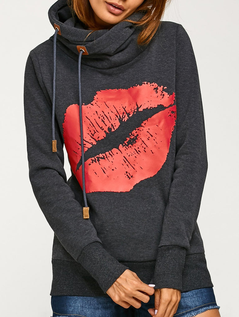 Lip Print Kangaroo Pocket Pullover Hoodie for $0.19 at THOKO PLACE