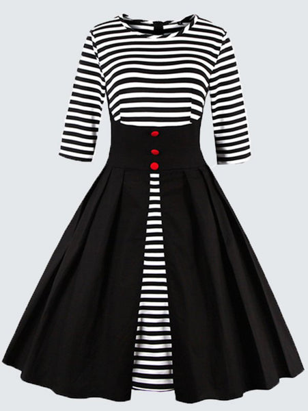Plus Size Vintage Button Embellished Striped Dress for $0.35 at THOKO PLACE
