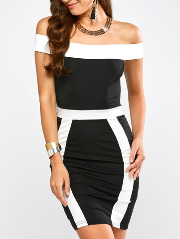 Color Block Off Shoulder Dress for $0.19 at THOKO PLACE